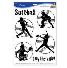 SOFTBALL wall stickers 6 decals teen sports room decor PLAY LIKE A GIRL