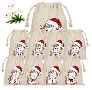 Einhorn Unicorn Adventskalender zum Befüllen 24 Beutel Säckchen Weihnachtskalend