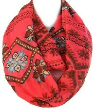 Ladies Lightweight Sheer Red Brown Blue Black Abstract Infinity Scarf Soft