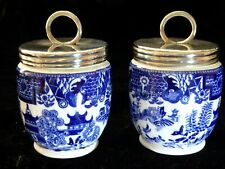 More details for  very rare pair antique worcester willow pattern egg coddlers england 1901-1911