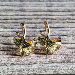 Gold Filled Maple Leaf Shape Earrings Gemstone Ear Hook Dangle Drop Party Women