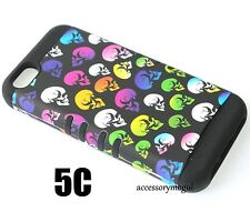 For iPhone 5C - HARD & SOFT RUBBER HYBRID IMPACT SKIN CASE RAINBOW BLACK SKULLS