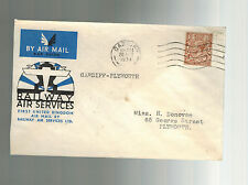 1934 England First Flight Cover Cardiff to Plymouth Railway Air Services Ffc