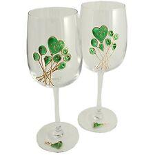 55th Wedding (Emerald) Anniversary Pair of Wine Glasses (Flower)