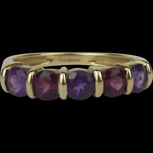 9ct Yellow Gold Five Stone Amethyst & Garnet Ring UK Size N US 6 ½