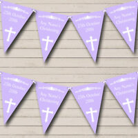 Party Banner Bunting Cross Holy Communion Lilac And White Christening Baptism