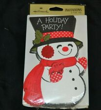 Vtg HALLMARK Paper Invitations SNOWMAN Red Bird Top Hat Earmuffs Sealed! NOS