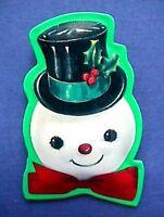 Hallmark PIN Christmas Vintage SNOWMAN TIN Puffed Holly Top Hat Holiday Brooch