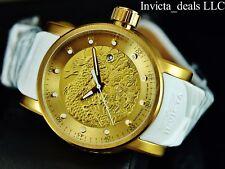 Invicta Men's S1 Yakuza Dragon 18K Gold IP Automatic NH35A SS White Strap Watch