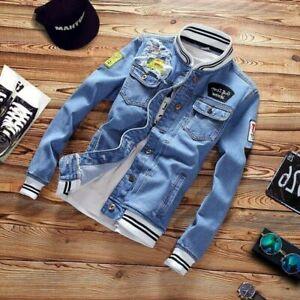 Spring Autumn Fashion Cool Mens Jean Jackets Casual Coat Outwear Denim Jacket