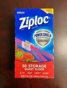 Ziploc Brand Storage Quart Expandable Sliders Bag Power Shield Protection 50 Ct