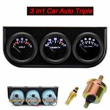52mm 3 in1 Car Auto Triple Gauge Kit Volt Meter Water Temp Oil Pressure Meter