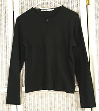 TOMMY HILFIGER Cotton Knit Casual Top L Black Shirt with Crochet Detail on Front