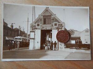 Vintage RP Postcard Hastings Life Boat Shed, Trams