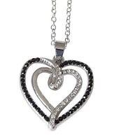 Collier, pendentif motif coeur incrusté de strass cristal blanc et noir.