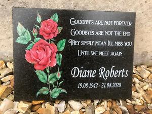 Personalised Red Rose Design Memorial Grave Granite Plaque - Any Name Date