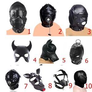 Adult unisex PU Leather Breathable headgear Gimp Mask Full Head Hooded Restraint