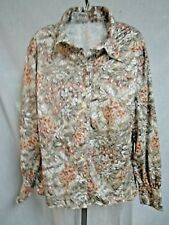 Vintage Flowered Floral Blouse Shirt Top 60 70s Polyester Rayon Retro Mod Design