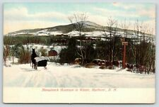 Marlboro New Hampshire~Solo Snowy Sleigh Ride Below Monadnock Mountains~c1908 PC