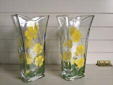 Glass Hand Painted Vase Primroses