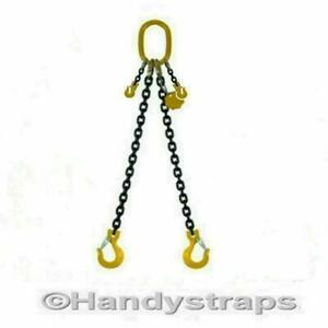 Lifting Chain Sling 3m x 2 Leg 10mm 4.2ton with Shortners Handy Straps