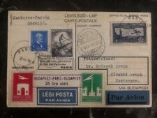 1933 Paris France First Flight Postcard Cover to Budapest Hungary Mixed Frank