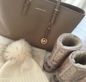 Michael Kors Jet Set Travel Leather Tote Shopper Handbag Taupe Retail $278