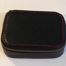 COACH Triple Pill Case Black Pebbled Leather with RED Stitching Case VERY RARE