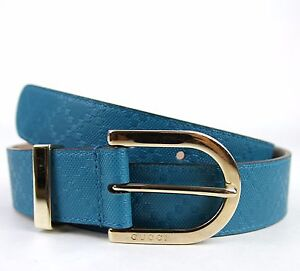 NEW Authentic Gucci Womens Diamante Leather Belt w/Gold Buckle 354382