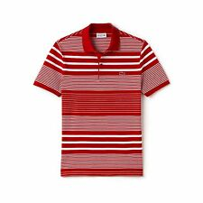 MEN'S LACOSTE SLIM FIT STRIPED COTTON MINI PIQUÉ POLO RRP £110