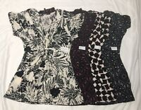 Daisy Fuentes Womens Printed Knot Front V Neck Top Blouse Sizes XS-S-M-L-XL NWT