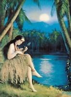 "Vintage Hawaii Beach Art Girl & ukulele  A2 CANVAS PRINT Poster 24"" X 16"""