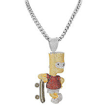 Bart Simpson Iced Out Pendant Franco Necklace Set Yellow Red Simulated Diamond