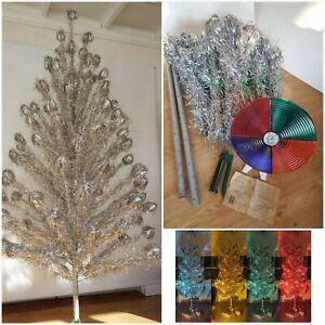 Vintage 7ft Aluminum Christmas Tree W/Color wheel 1960s  Mid Century Atomic era