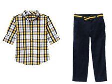 Gymboree Junior Linebacker Woven Plaid Shirt Corduroy Pants Set Boys 5 6 NEW NWT
