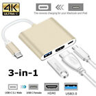 3 in1 Type C to USB-C 4K HDMI USB 3.0 Hub Adapter Cable For Macbook Samsung