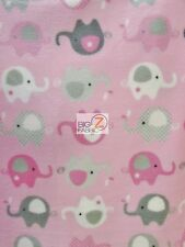 "ANIMAL PRINT POLAR FLEECE FABRIC - Baby Elephants Baby Pink - 60"" SOLD BTY 905"