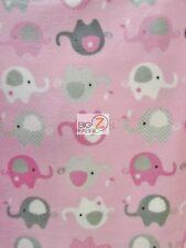 "ANIMAL PRINT POLAR FLEECE FABRIC - Baby Elephants Baby Pink - 60"" SOLD BTY 905"