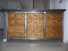 Meuble industriel buffet 3 portes métal & bois sur mesure