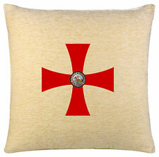 KNIGHTS TEMPLAR CROSS WITH SEAL ON A CREAM CHENILLE CUSHION.INC PADDING