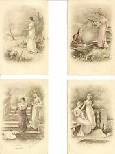 LOT DE 4 CARTES POSTALES FANTAISIE FEMME SEDUCTION CHARME