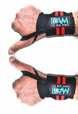Dam Wrist Wraps Heavy Duty Powerlifting Bodybuilding Gym Support Straps 12 Inch Long Black With Red Stripe