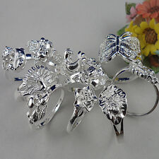 Simple animal 10pcs S925 silver CZ random mixing SIZE 6-9 ring BJ21