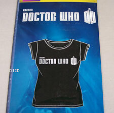 Doctor Who Logo Ladies Black Silver Printed Short Sleeve T Shirt Size M New