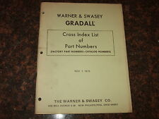 Warner And Swasey Gradall Cross Index List Of Part Numbers Book Manual