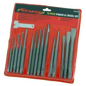 16 Piece Punch and Chisel Set - Centre Pin & Taper Punches Cold Chisels