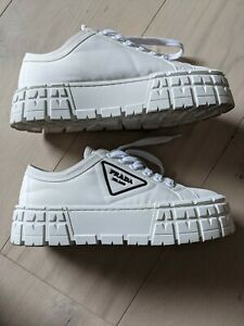 Prada White Platform Sneakers size 38 Worn Once