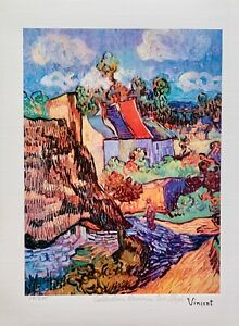 """Vincent Van Gogh HOUSES AT AUVERS Estate Signed Limited Edition Giclee 13"""" x 17"""""""