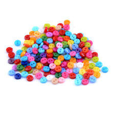 200pcs Mixed Mini Colors Round Shape Acrylic Buttons Lots 2 Holes Sewing 6mm