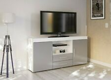New Stylish High Gloss Grey & White TV Console Unit Stand Storage Cabinet